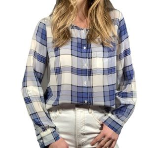 JOIE BLUE AND WHITE PLAID BUTTON DOWN blouse